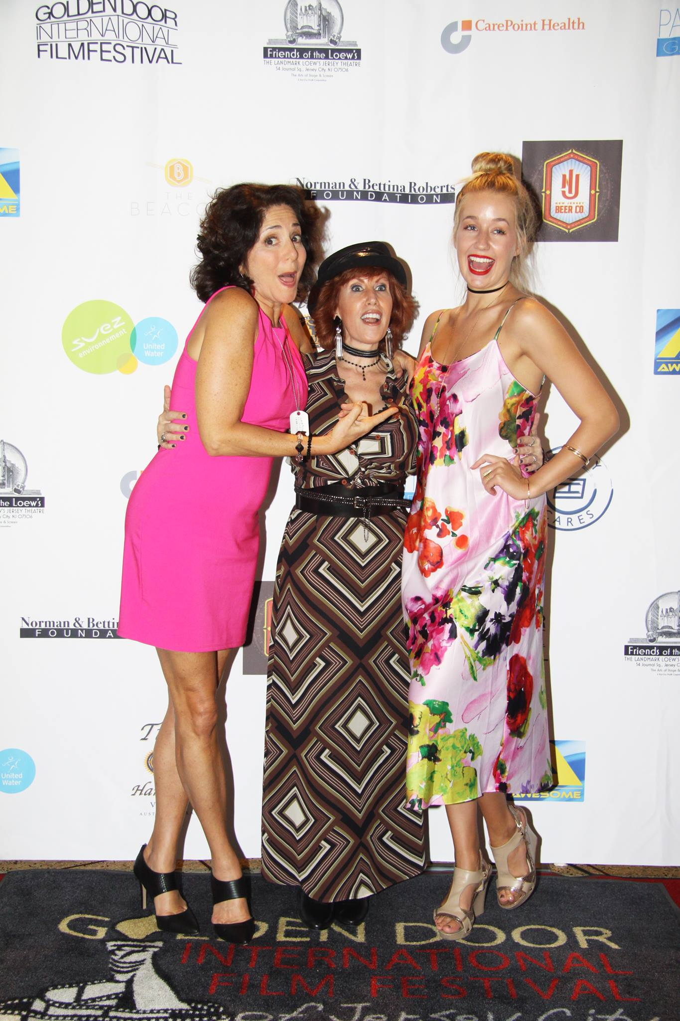 Lead Actress Jennifer Jiles with Actresses Simone Lazer and Lexi Zettle on the Red Carpet at Golden Door International Film Festival